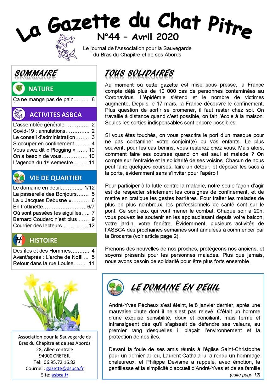 Gazette du Chat Pitre numero 44 Page 1